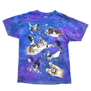 DOM Flying Cats Kitten Graphic Tee Tie Dye T-shirt